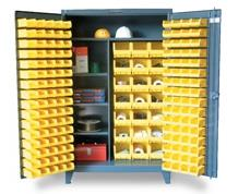 BIN STORAGE CABINETS WITH HALF-WIDTH SHELVES